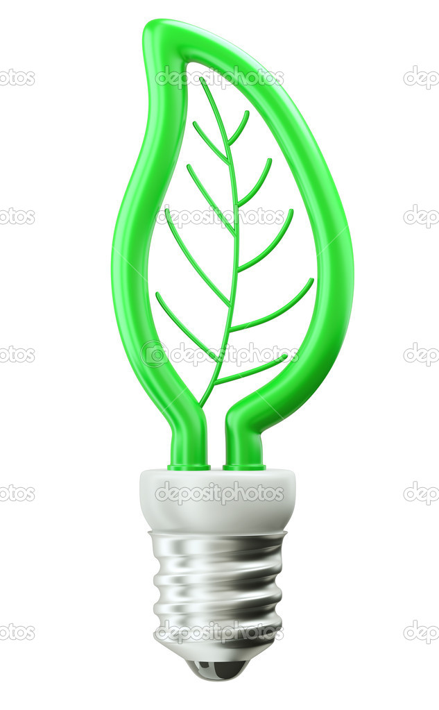 Eco Friendly Technology: Green Leaf Light Bulb U2014 Stock Photo