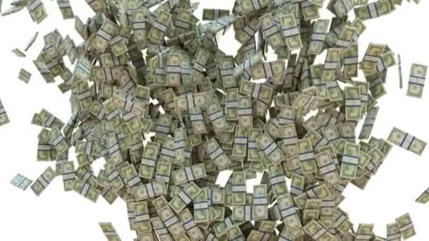 Wealth: dollar cash slow motion flow on white. Alpha matte