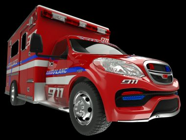 Ambulance: wide angle view of emergency services vehicle on blac