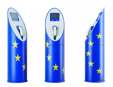 Eco fuel: isolated charging stations with EU flag pattern