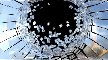 Pieces of Broken mirror glass isolated