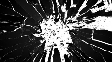 Shattered glass: sharp Pieces on white