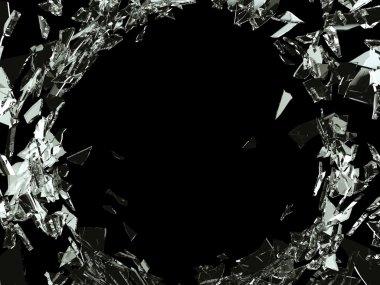 Destruction Shattered or demolished glass with hole