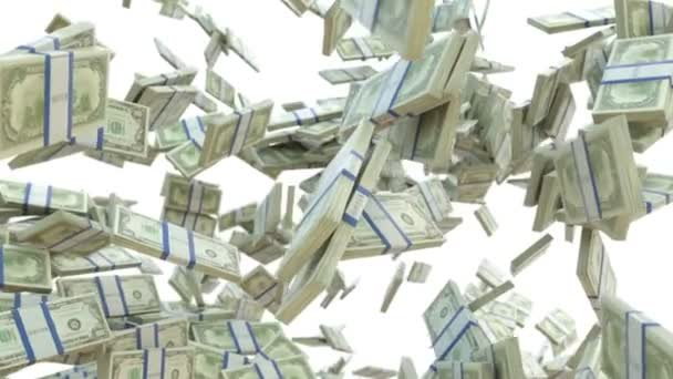 Wealth: dollar cash slow motion scattering on white