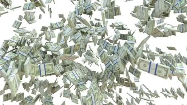 peníze: dolar peněžní zpomalené rozptyl na bílém pozadí