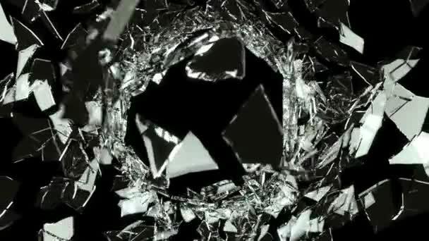popraskané a rozbité černé sklo s zpomalené