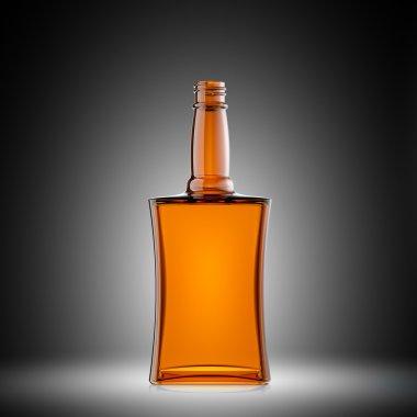 Empty red glass bottle