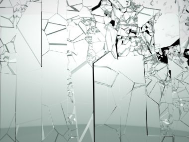 Destructed or broken glass isolated on black