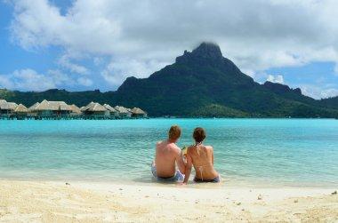 Romantic honeymoon couple on Bora Bora