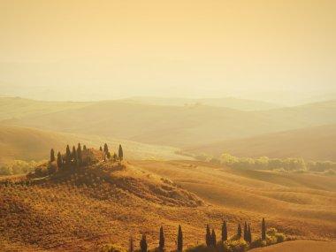 Sunrise over a famous farmer villa near Pienza in the val dorcia in Tuscany, Italy. stock vector
