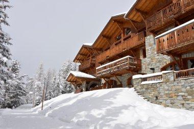 Ski resort hotel in the snow