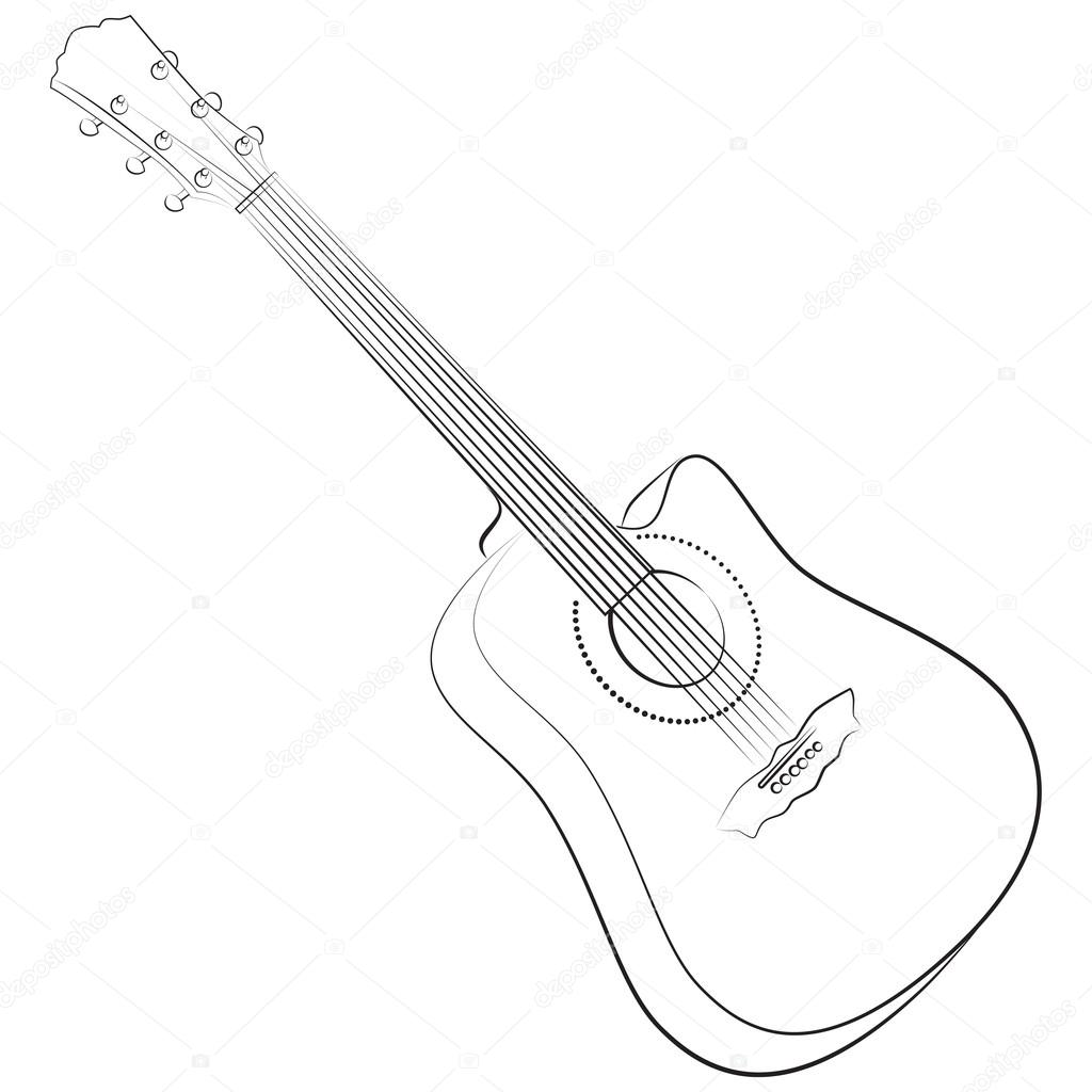 Acoustic Guitar Vector Illustration Colorless Stock Vector