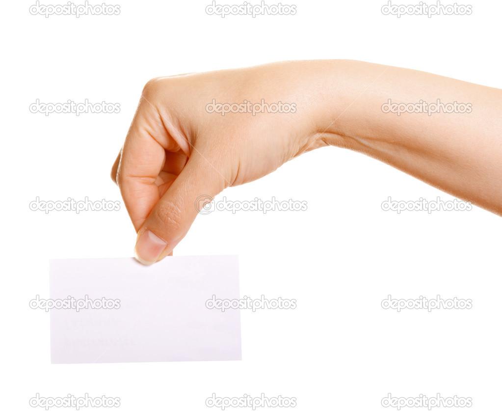 Female hand holding a business card — Stock Photo © pzRomashka #34271311
