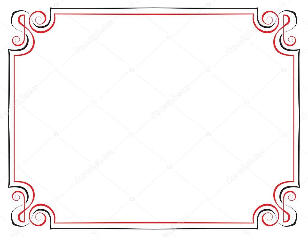 marco vintage Vector. negro con rojo — Archivo Imágenes Vectoriales ...