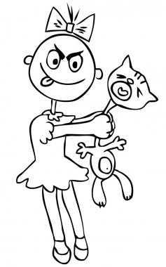 Vector illustration. Children's cruelty. girl torturing a cat. h