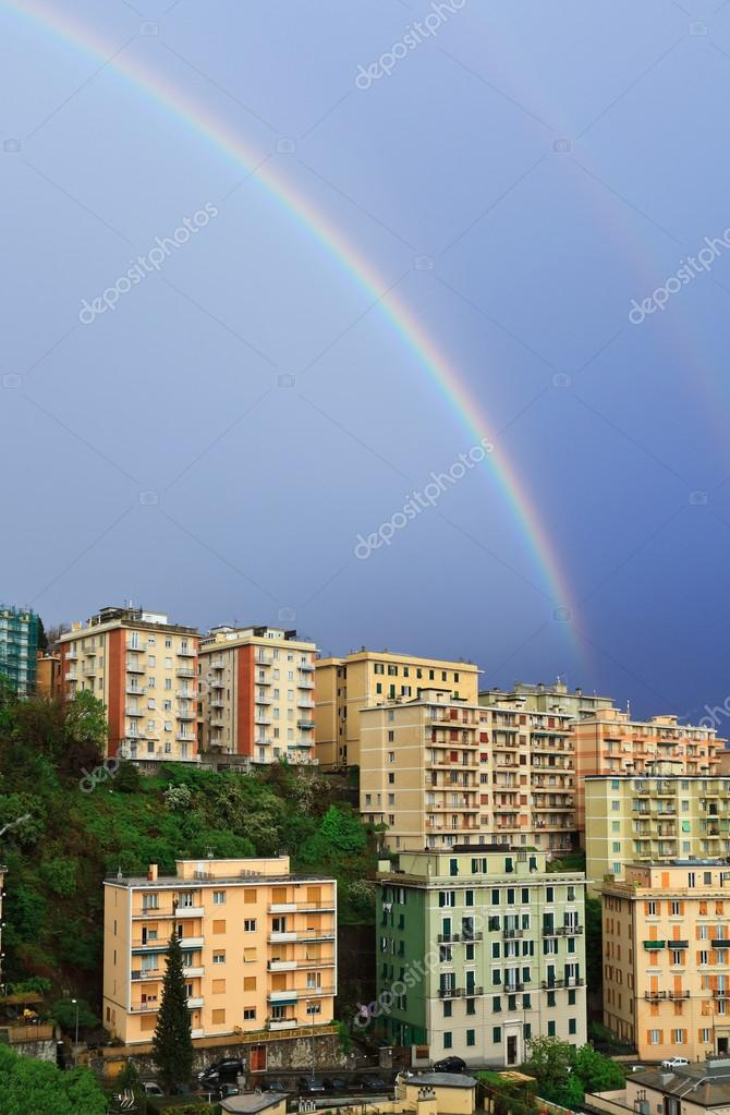 Rainbow over the town
