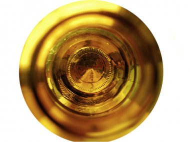 The bottom of an empty beer bottle