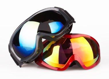 Ski goggles on the white background stock vector