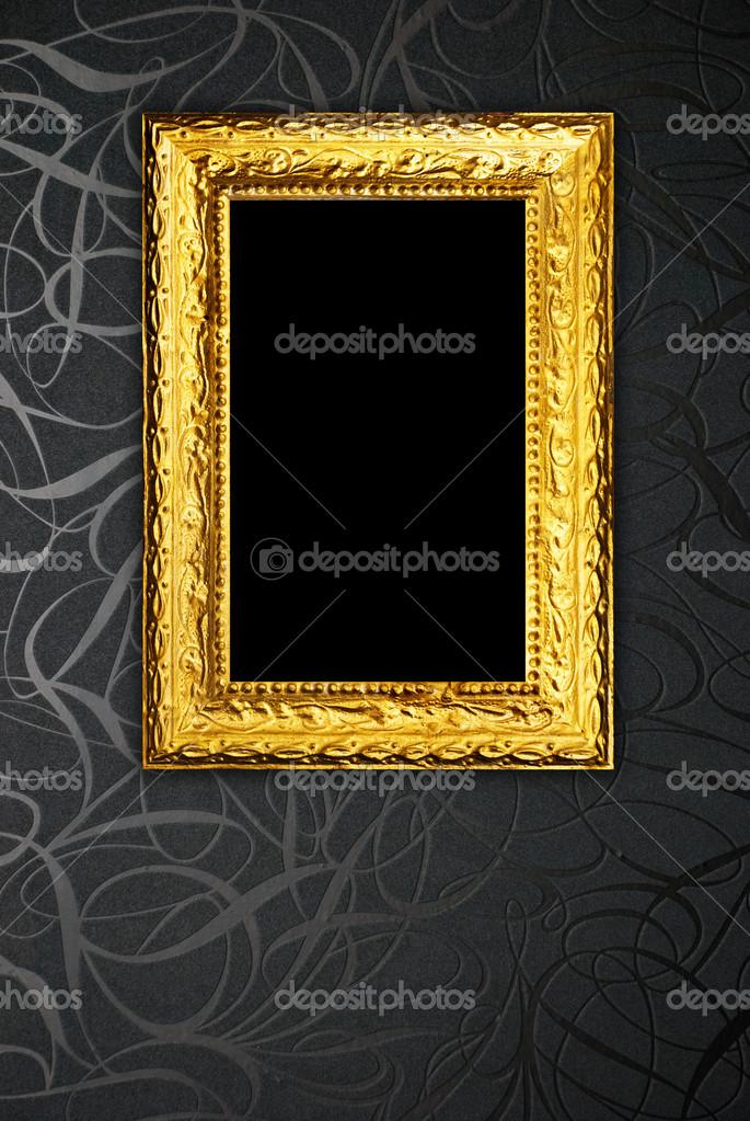 Goldrahmen auf schwarz Vintage Tapete-Hintergrund — Stockfoto ...