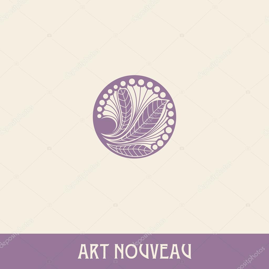 Floral element in art nouveau style.