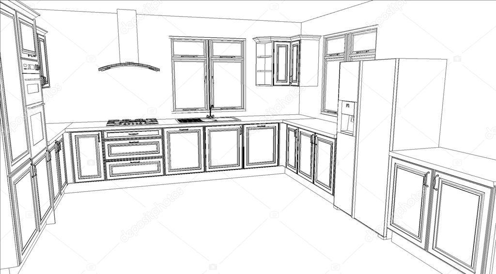 riempimento bianco il rendering di un disegno della cucina — Foto ...