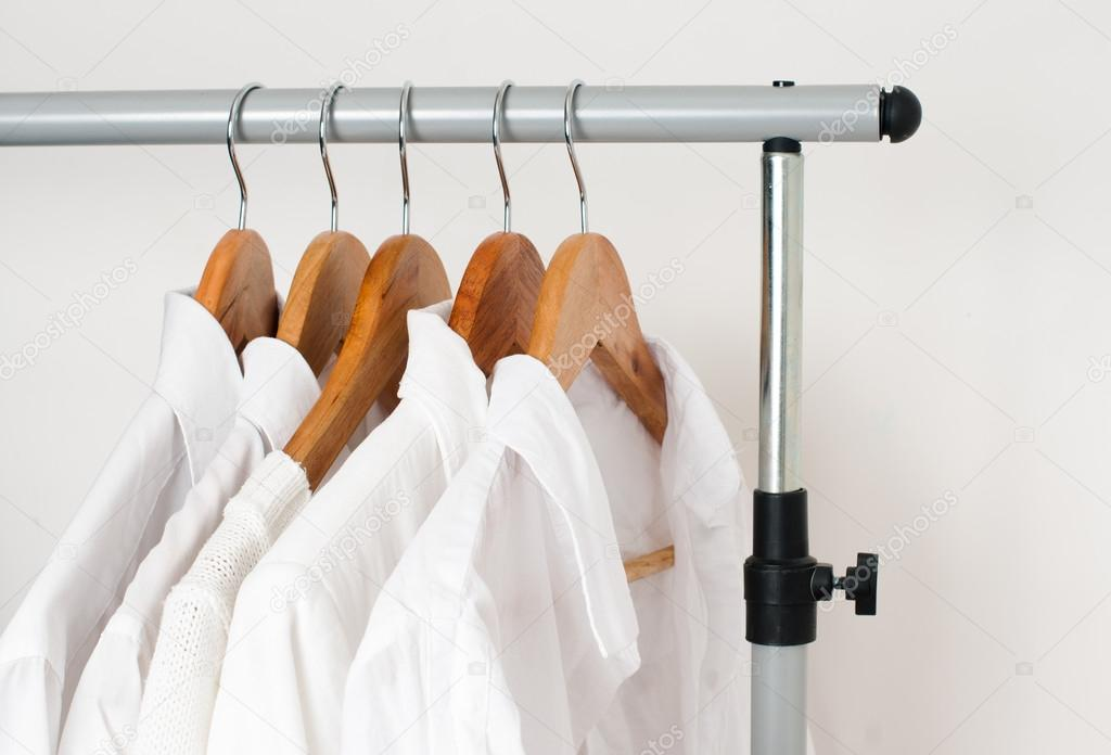 White clean clothes, shirts and jackets