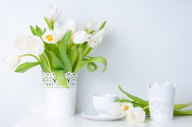 Home decoration, white tulips