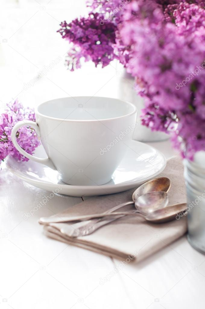 Delicate morning tea table setting with lilac flowers vintage spoons and utensils on a white wooden board u2014 Photo by manera  sc 1 st  Depositphotos & Delicate morning tea table setting u2014 Stock Photo © manera #45245655