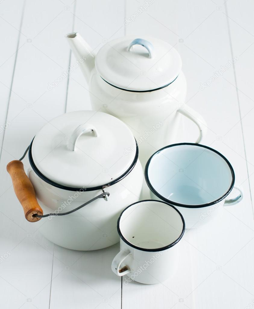 utensilios de cocina vintage blanco — Foto de stock © manera #46632137