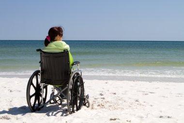 Woman Wheelchair Beach