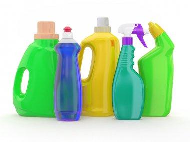 Different detergent bottles on white background. 3d stock vector