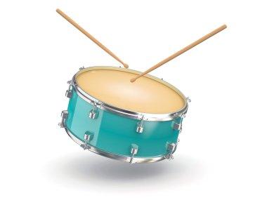 Drum and drumsticks. 3d