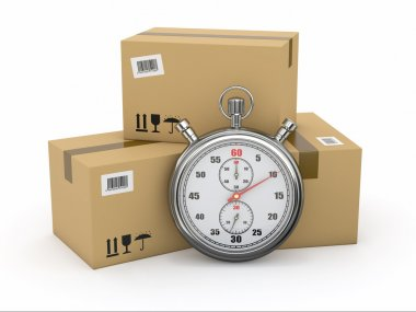 Express delivery. Stopwatch and package.
