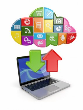 Cloud computing. Laptop and icons software.