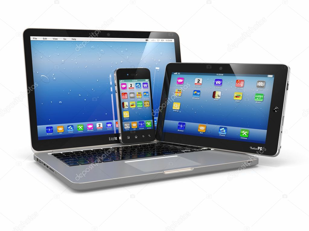 Laptop, phone and tablet pc. Electronic devices — Stock Photo ...