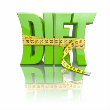 Text Diet and measuring tape on white background. 3d stock vector