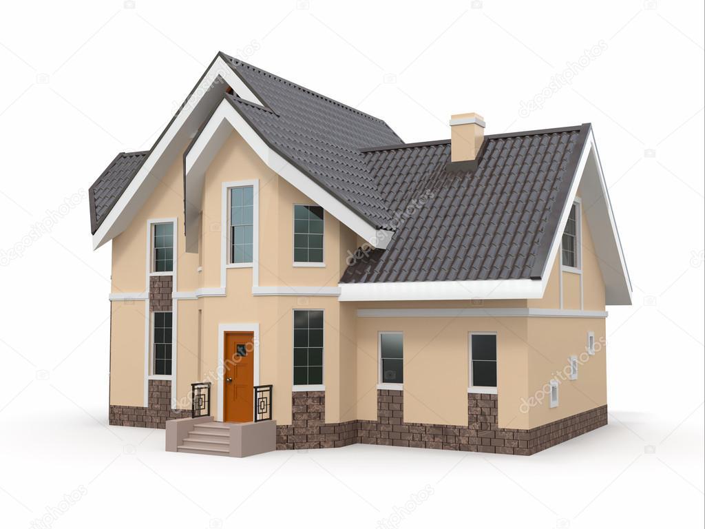 house on white background stock photo maxxyustas 18972191. Black Bedroom Furniture Sets. Home Design Ideas