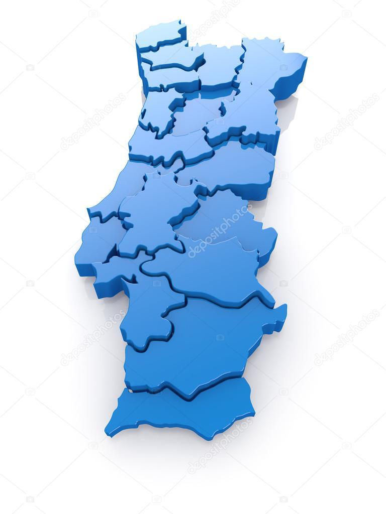 mapa de portugal 3d mapa tridimensional de portugal — Fotografias de Stock  mapa de portugal 3d