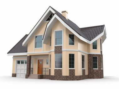 House on white background. Three-dimensional image
