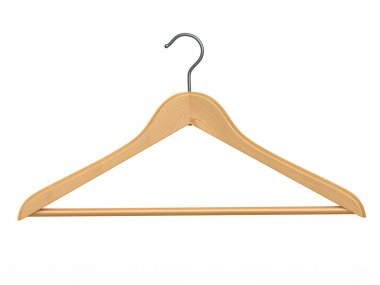 Clothes hanger on white isolated background.