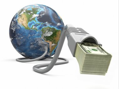 Make money online. Concept. Earth and internet cable with money.
