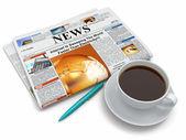 tazza di caffè con il giornale