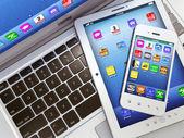notebook, mobilní telefon a digitální počítače tablet pc