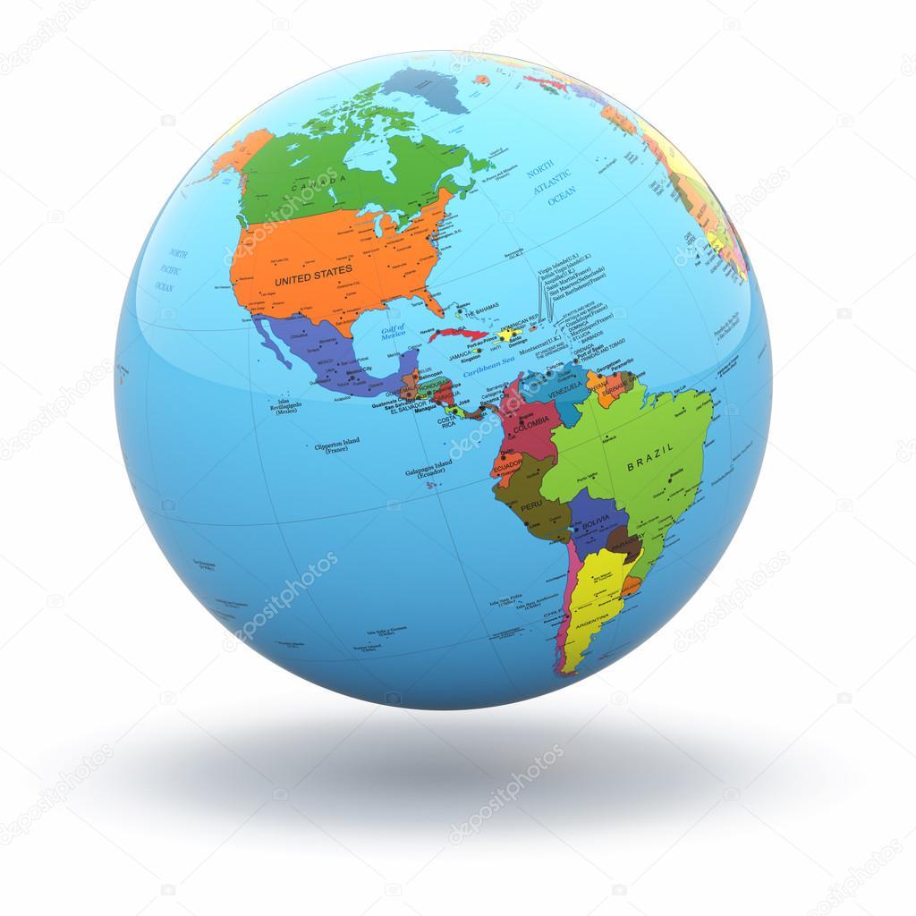 Wunderbar Weltkugel 3d Referenz Von Politische Auf Weißem Hintergrund. — Stockfoto