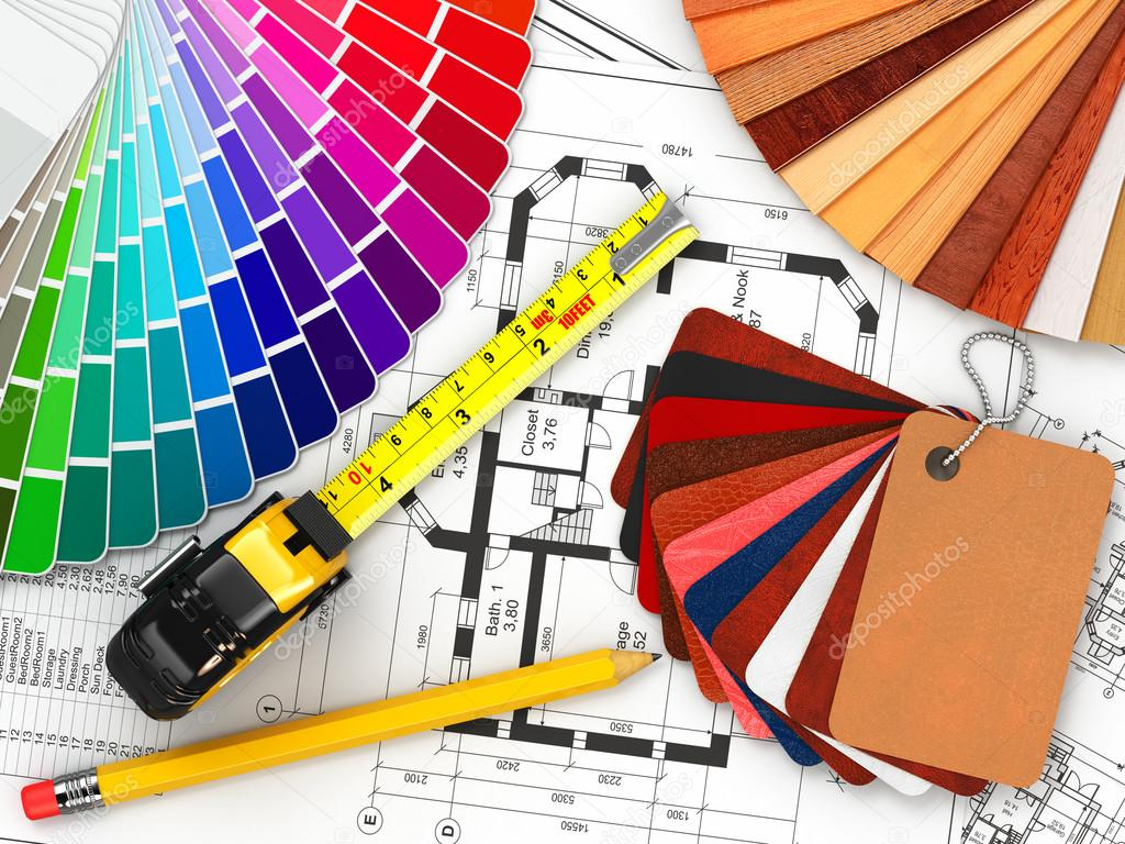 Interior Design. Architectural Materials Tools And Blueprints U2014 Stock Photo Design