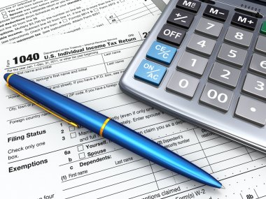 Tax Return 1040, calculator and pencil. 3d
