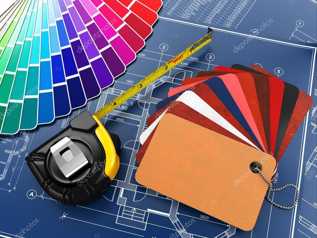 Interior Design Tools interior design. architectural materials tools and blueprints