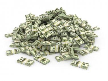 Dollars. Pile from packs of money. 3d stock vector
