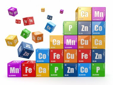 Chemistry concept. Wall from cubes wiyh periodic table of element. 3d stock vector