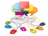 Konzept des sozialen Netzwerks. Forum oder Chat Blase Rede.